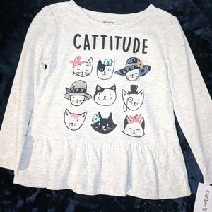 "Carters long sleeve t-shirt with cats  ""Cattitude"""